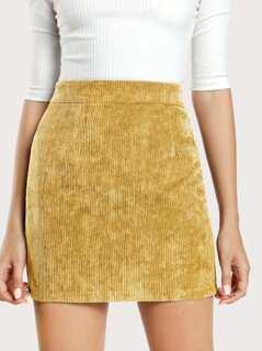 Zip Back Corduroy Skirt