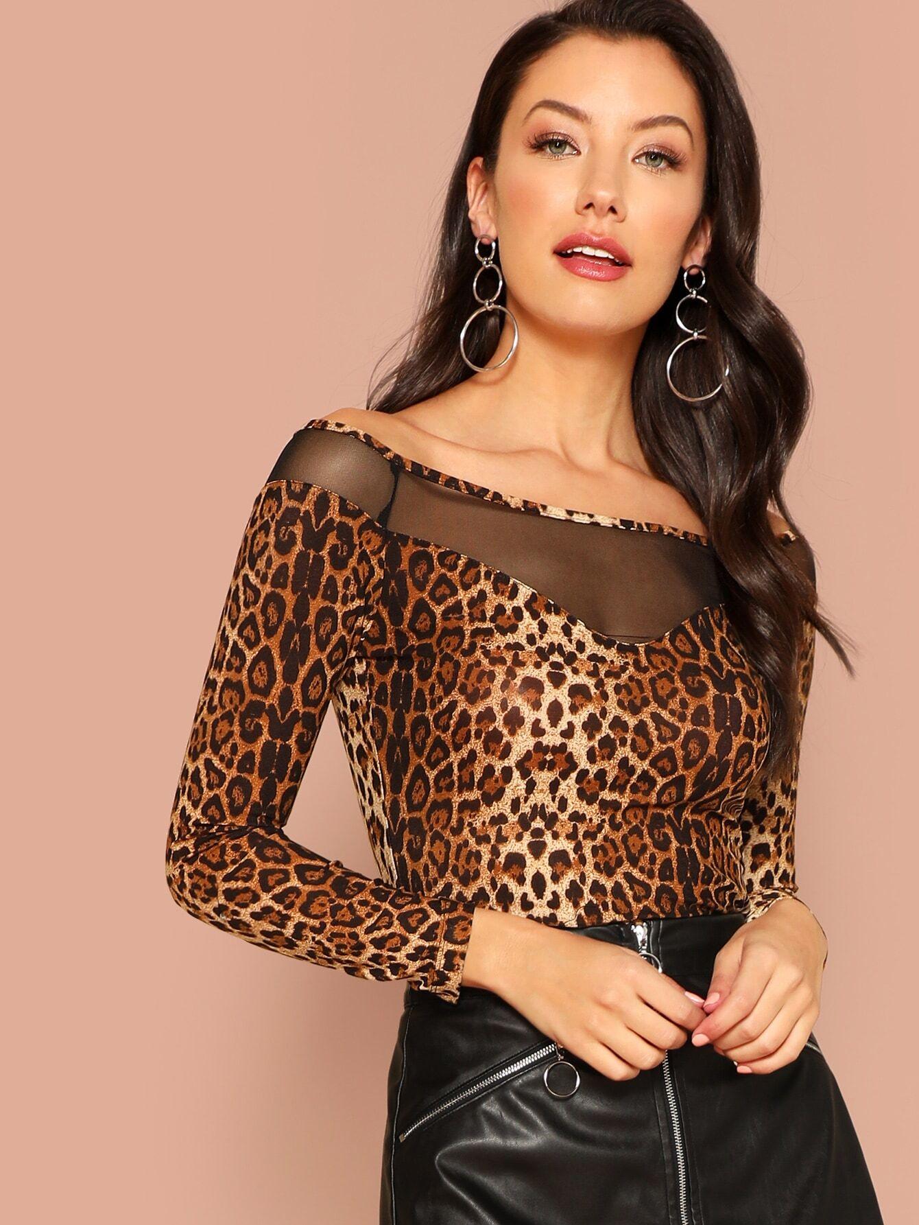 Купить Леопардовая футболка вставки сетки, Candace, SheIn