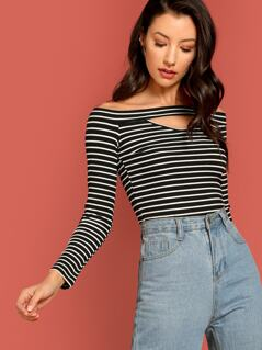 Cutout Front Off Shoulder Fitted Striped Tee