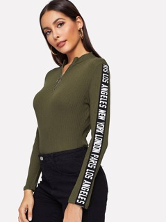 Zip Half Placket Letter Ribbed Knit Tee