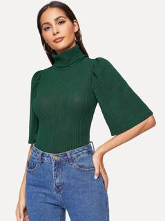High Neck Ribbed Knit Tee
