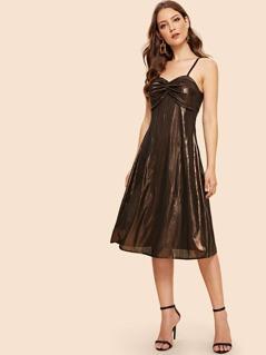 Ruched Detail Metallic Slip Dress