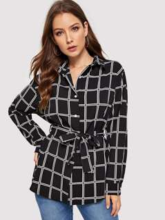 Curved Hem Grid Buttoned Shirt