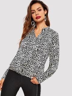 V Neck Leopard Print Blouse