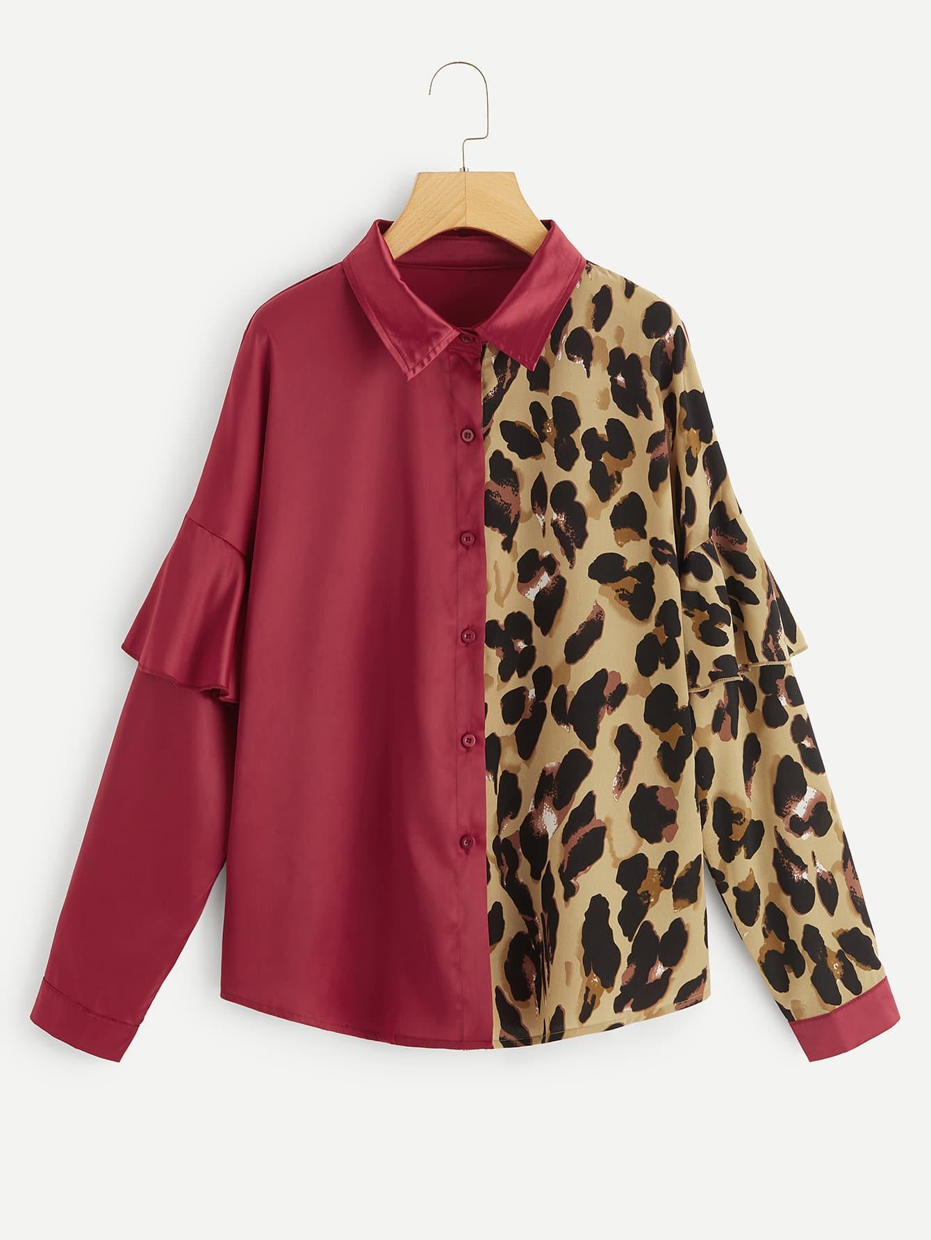 Купить Размер плюс контрастная леопардовая рубашка с оборкой, null, SheIn