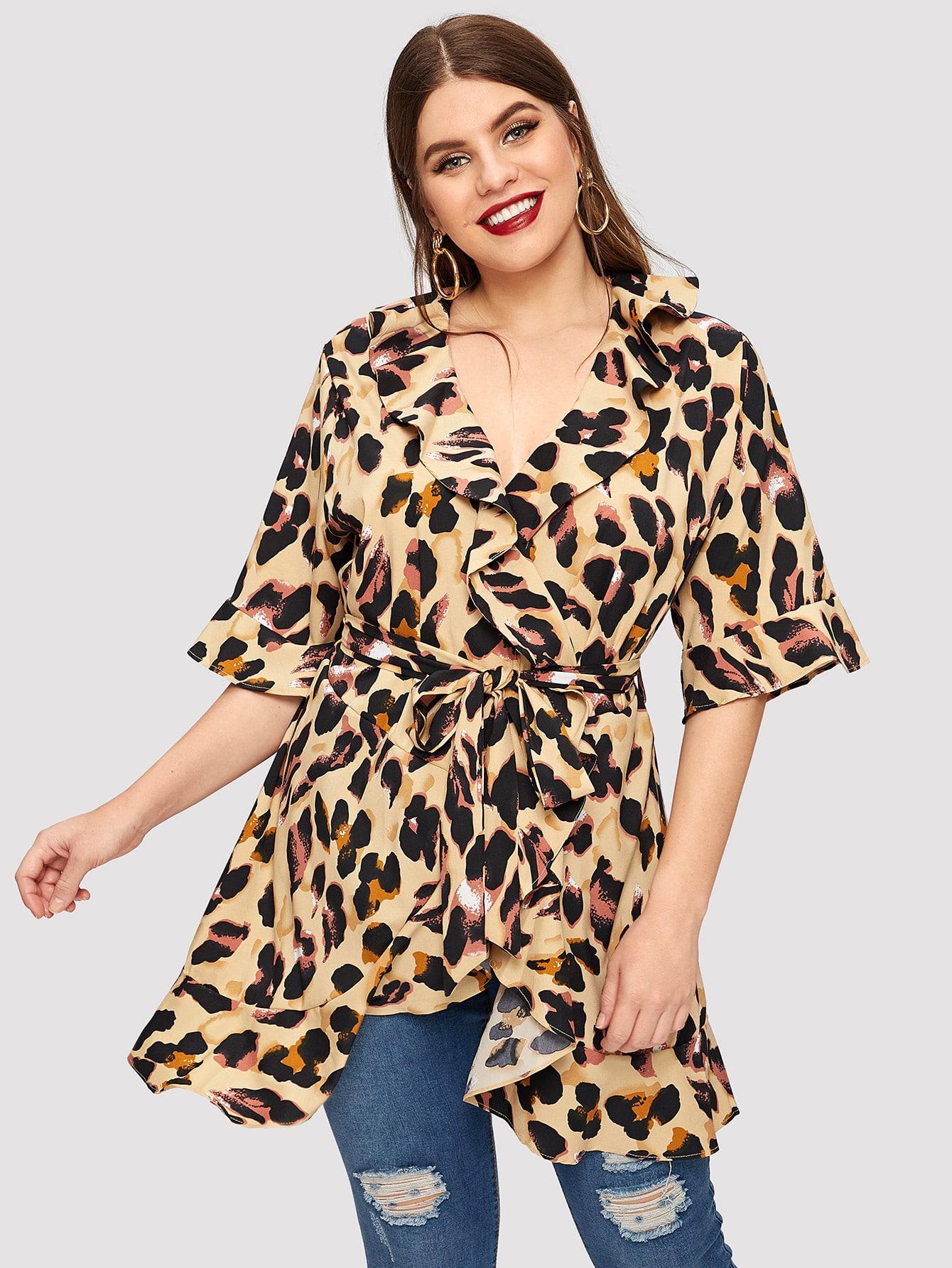 Купить Размер плюс топ с леопардовым принтом и оборками, Isabela, SheIn
