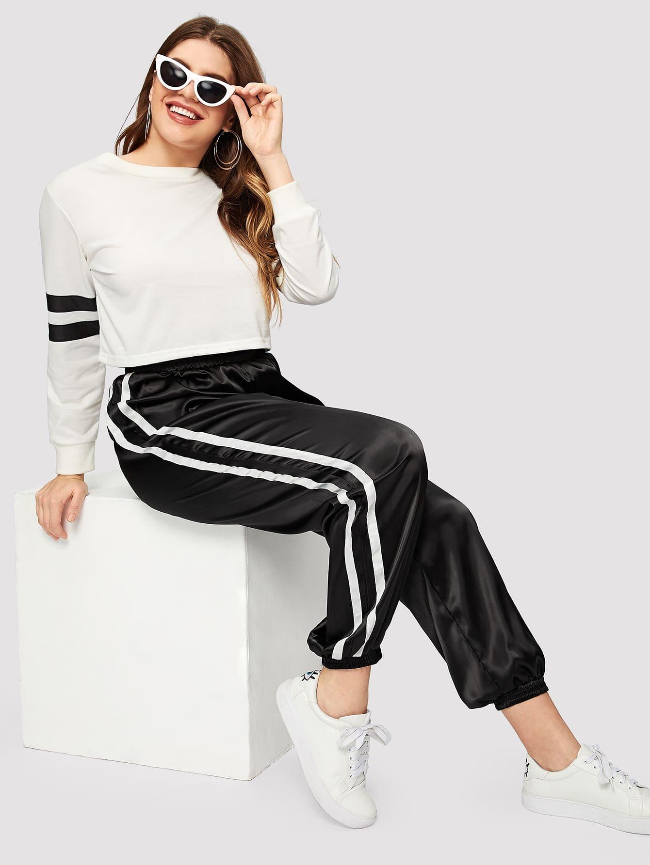Купить Размер плюс уаругие спортивные брюки с полосатами, Isabela, SheIn