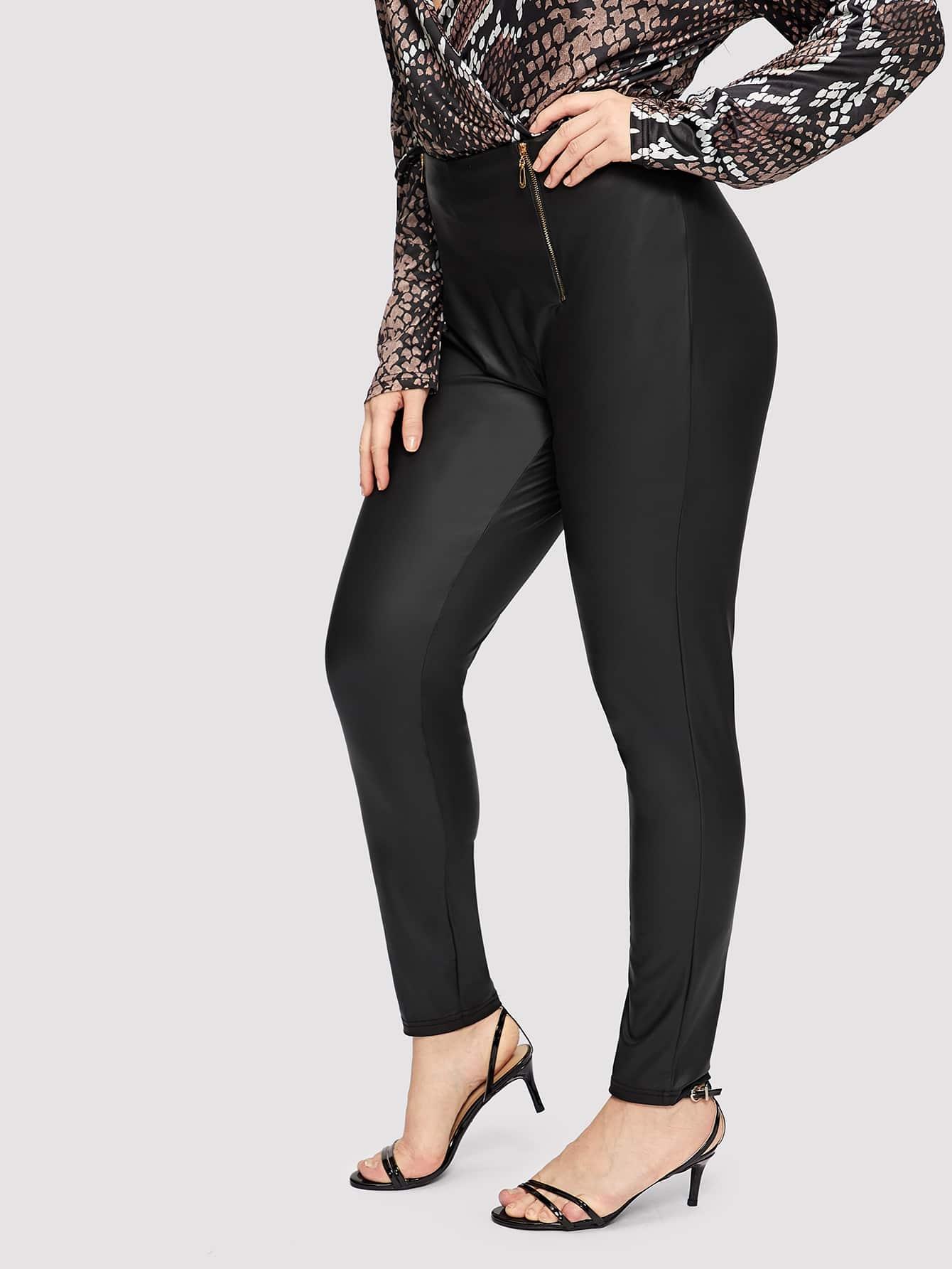 Купить Размер плюс приталенные брюки с молнией, Isabela, SheIn