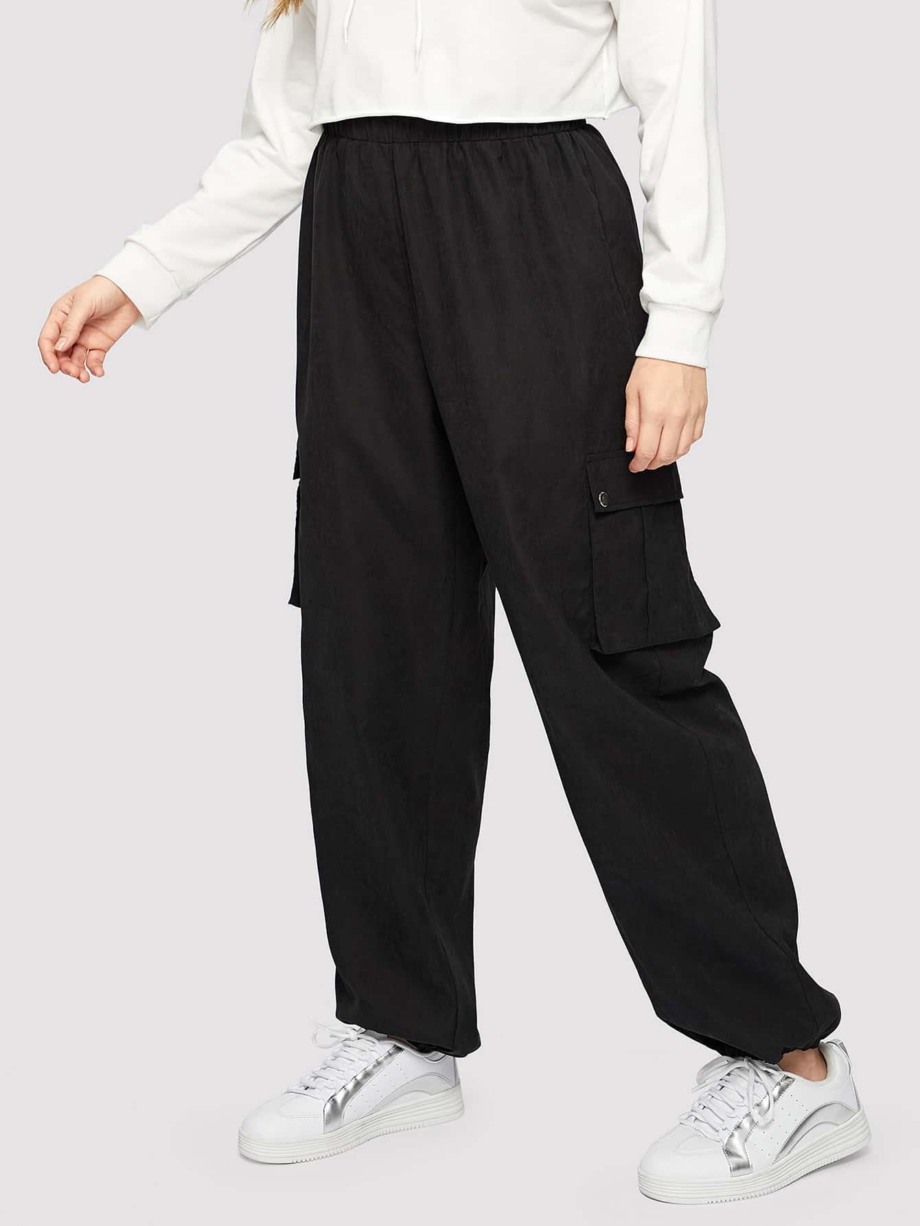 Купить Размер плюс брюки с карманом и упругой талией, Isabela, SheIn
