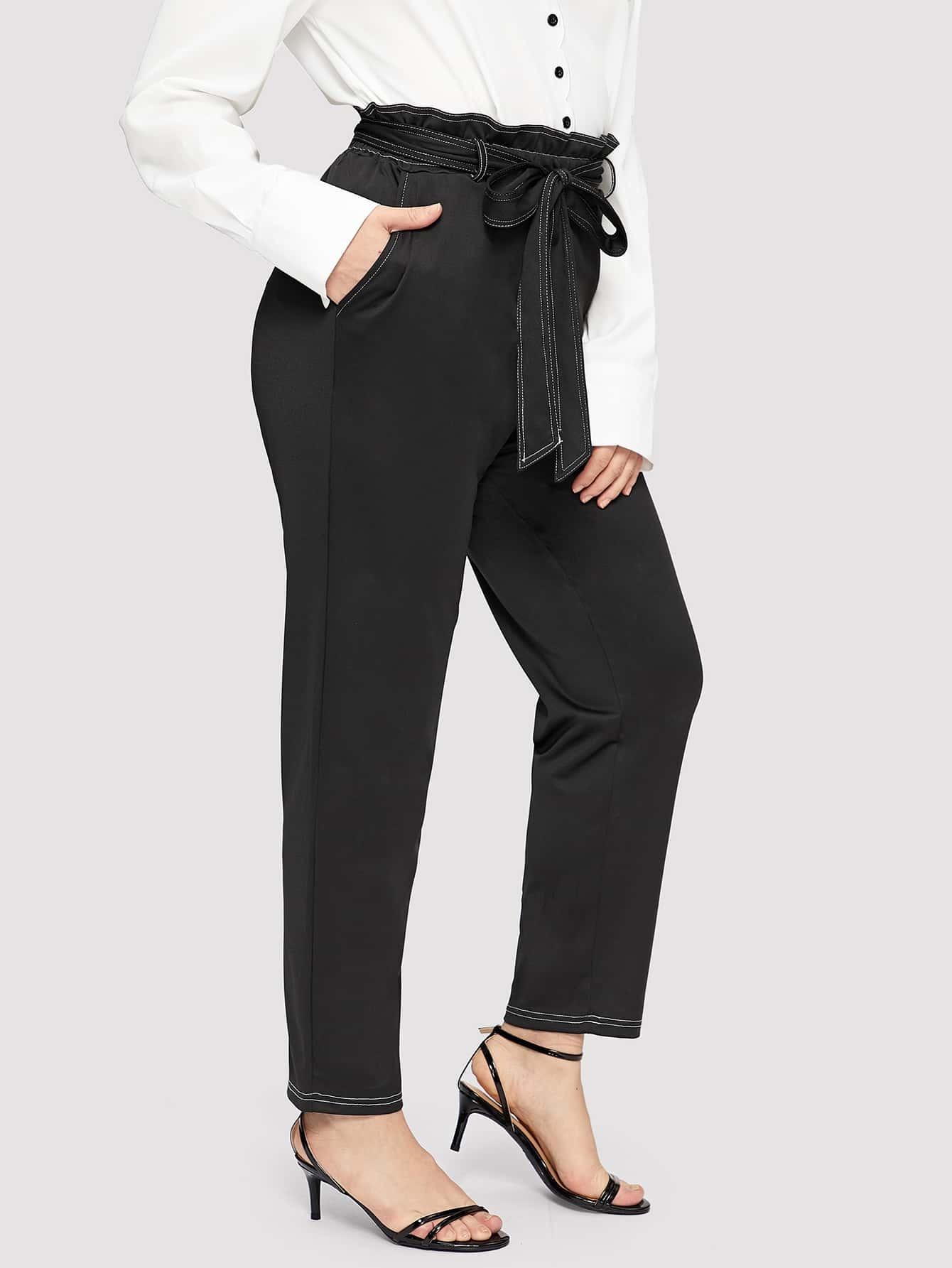 Размер плюс контрастные брюки, Isabela, SheIn  - купить со скидкой