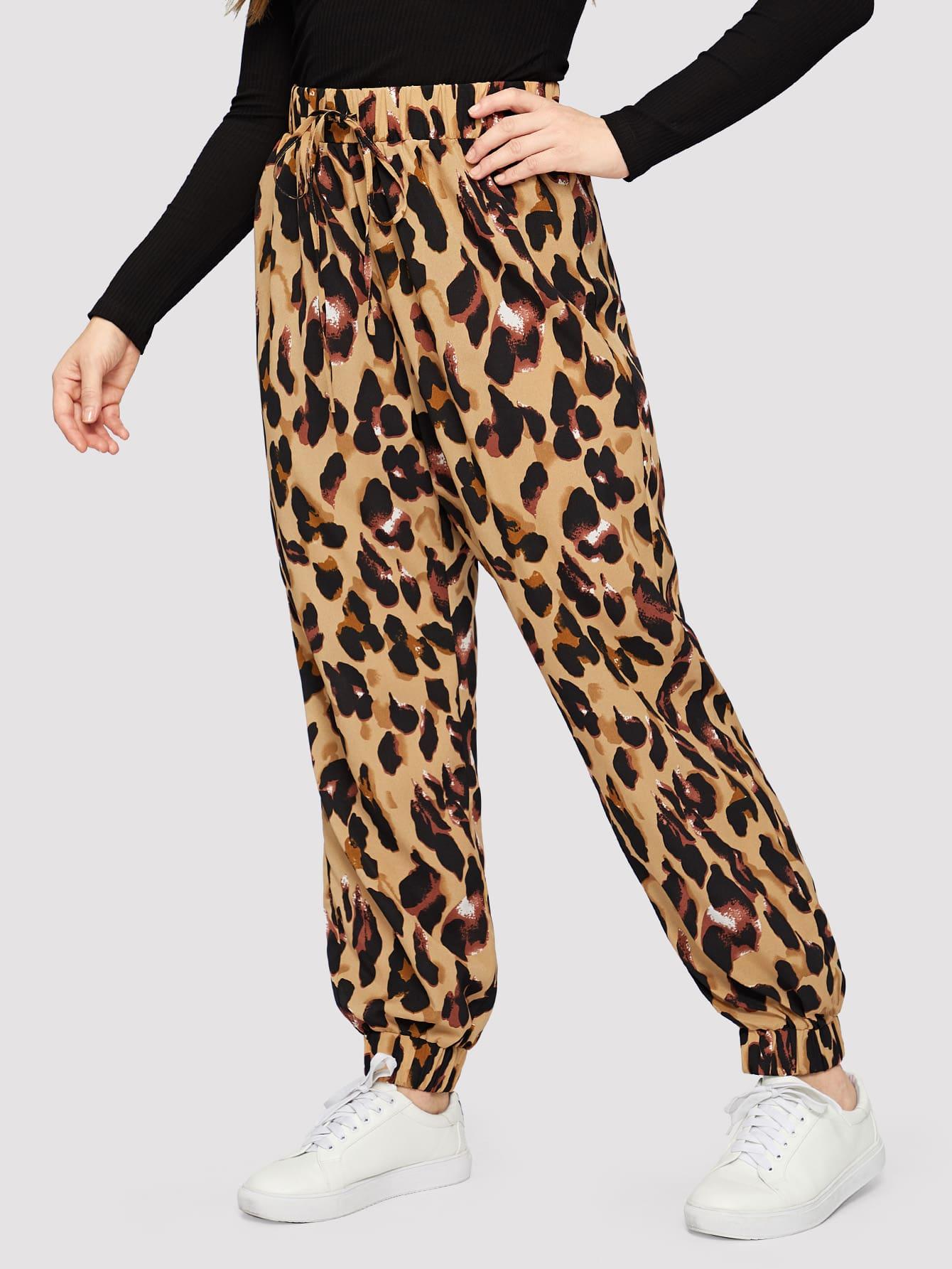 Купить Размер плюс леопардовые брюки с кулиской и упругой отделкой, Isabela, SheIn