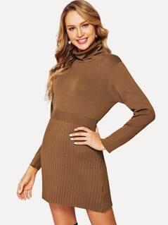 Turtle Neck Elastic Waist Sweater Dress