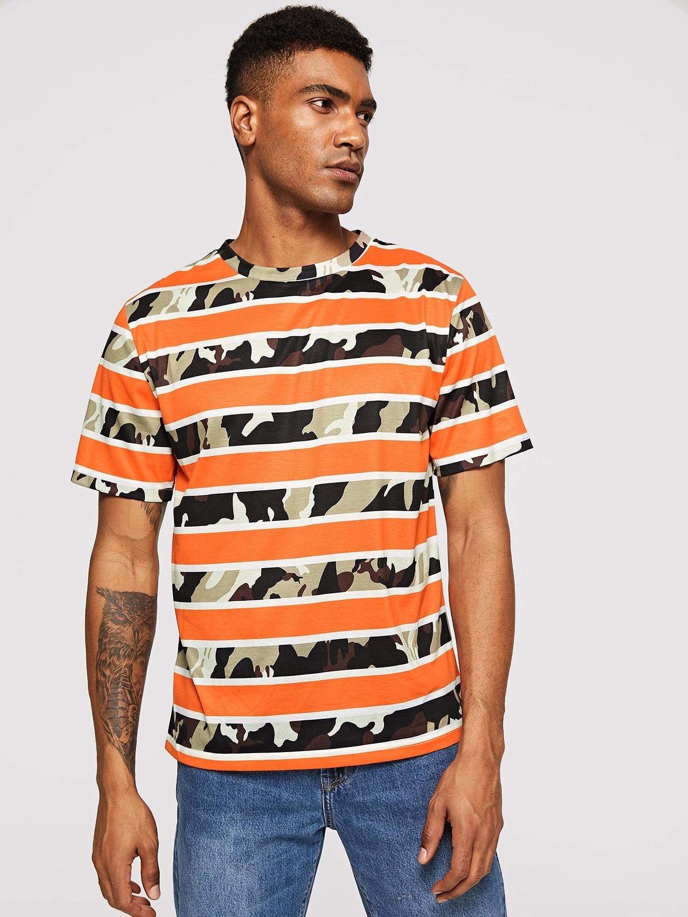 Купить Мужская футболка с камуфляжной полосатой, Johnn Silva, SheIn