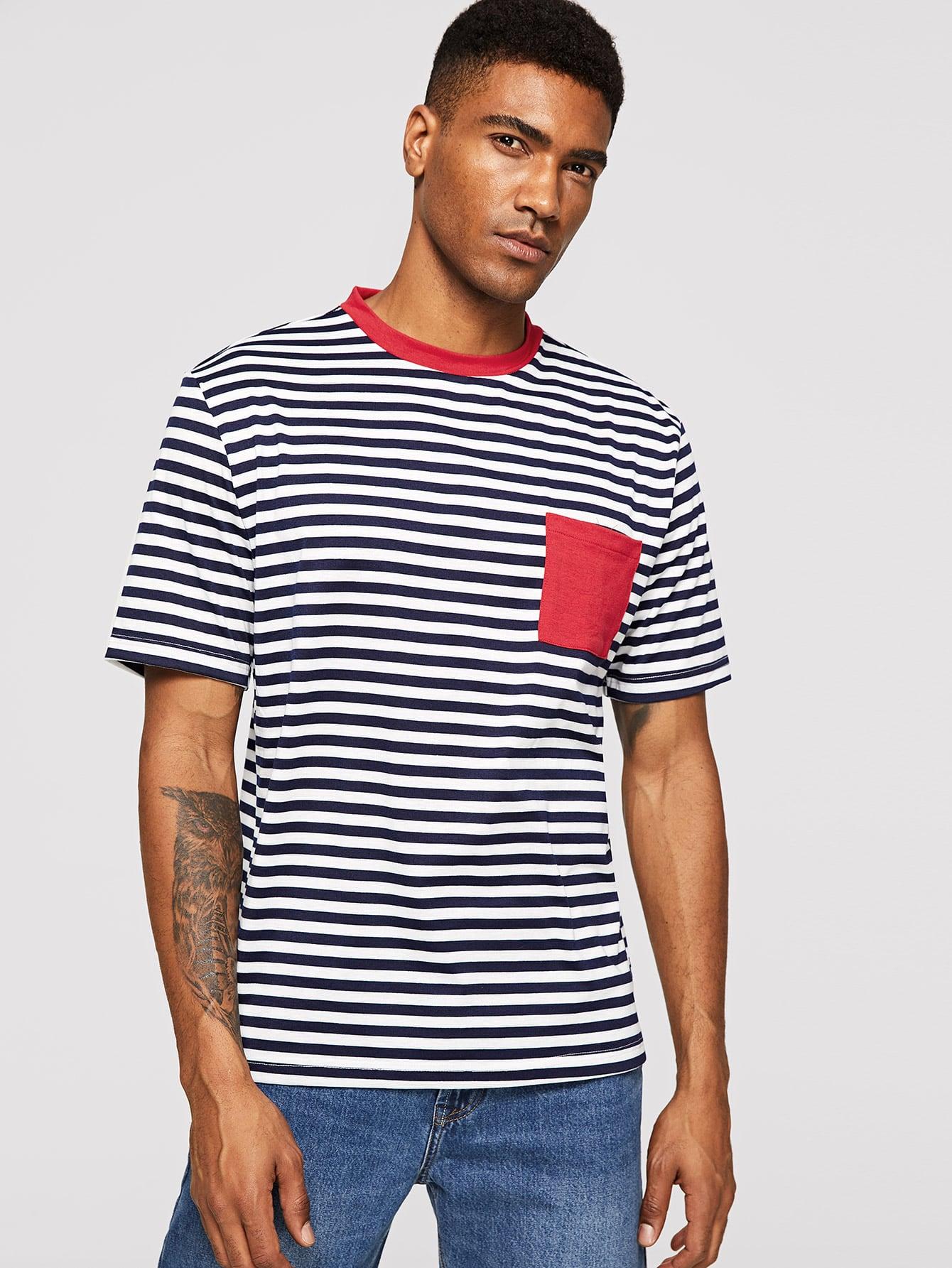 Купить Мужская полосатая футболка с карманом и клуглым воротником, Johnn Silva, SheIn
