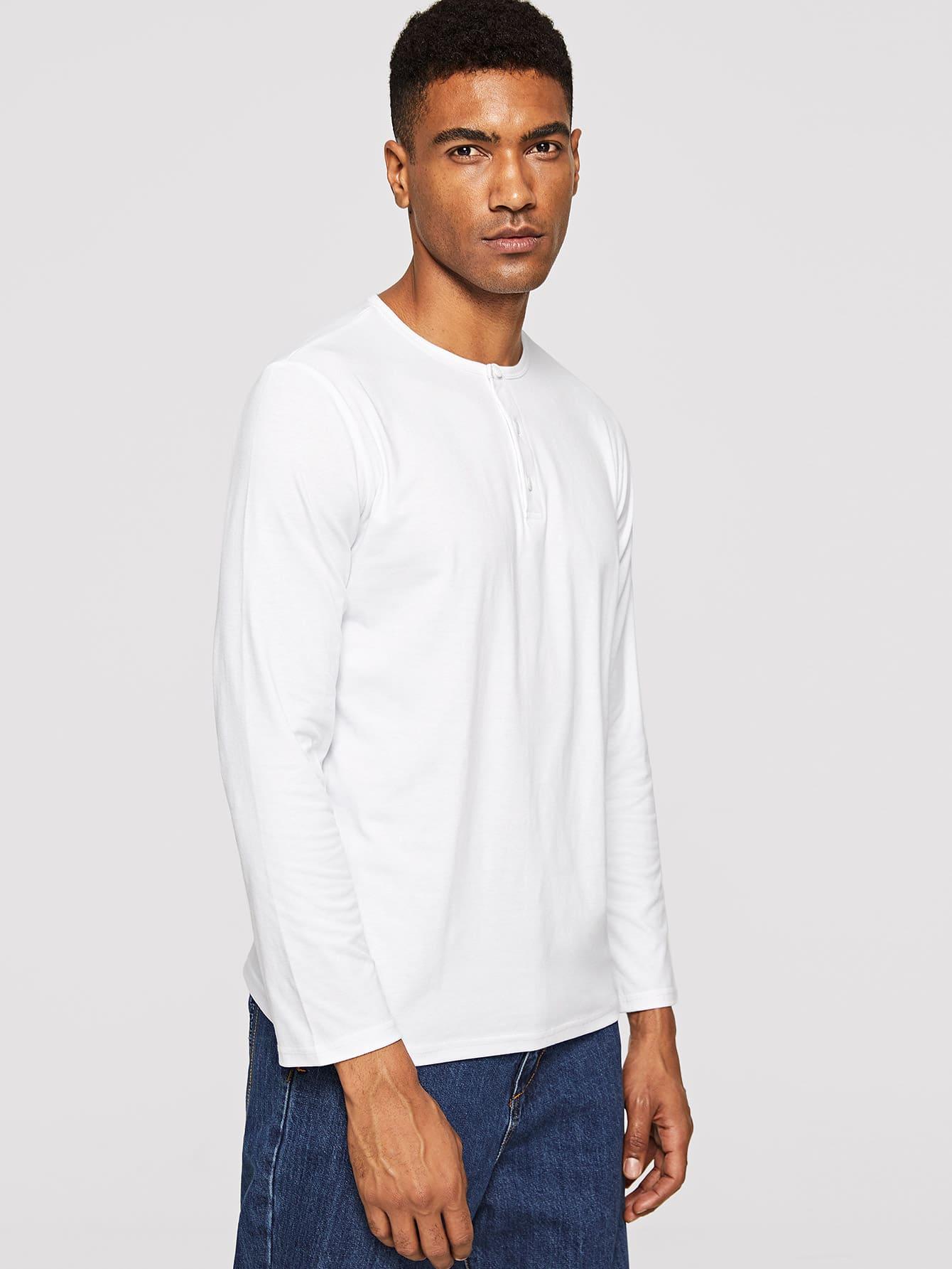 Купить Мужская однотонная футболка с пуговицами, Johnn Silva, SheIn