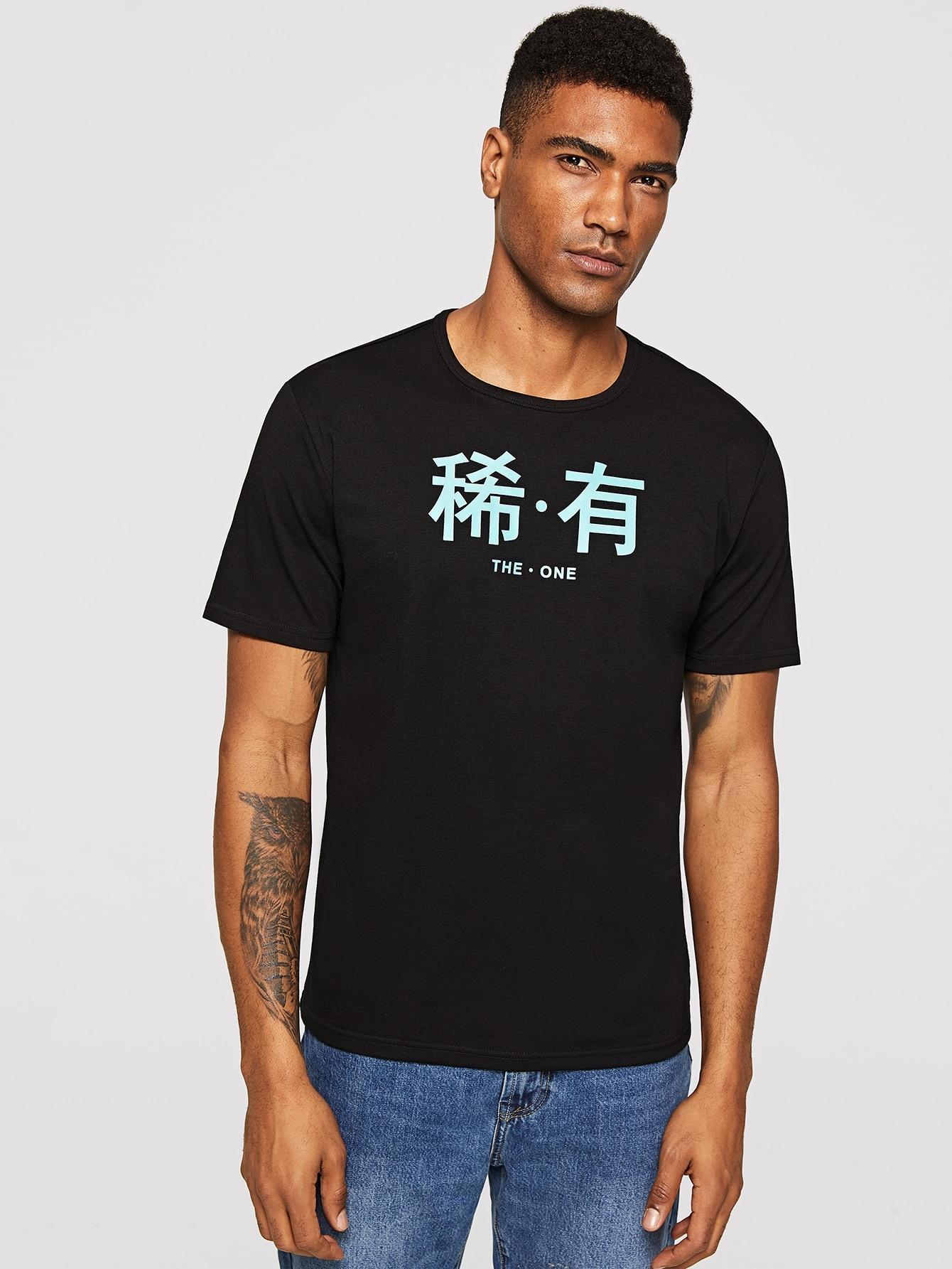 Купить Мужская футболка с текстовым принтом, Johnn Silva, SheIn