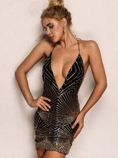 Joyfunear Plunging Neck Open Back Sequin Halter Dress
