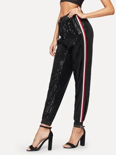 Elastic Waist Sequin Striped Pants