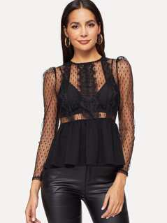 Lace Applique Sheer Mesh Peplum Top Without Bra