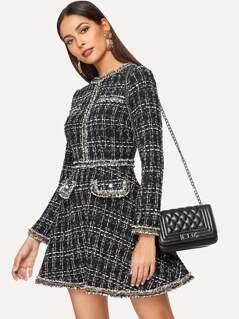 Frayed Trim Fit & Flare Tweed Dress