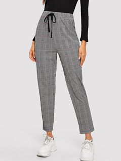 Drawstring Waist Glen Plaid Pants