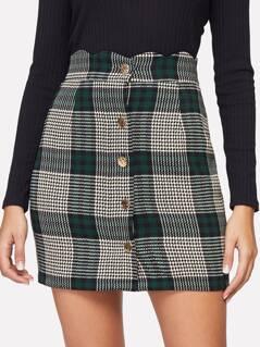 Scallop Waist Button Up Plaid Skirt