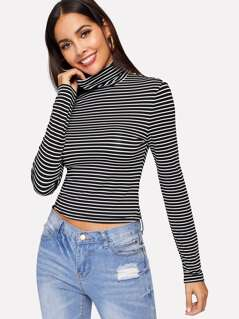 High Neck Slim Fitted Striped Tee