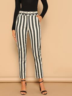 Stripe Belted Waist Side Pockets Skinny Pants
