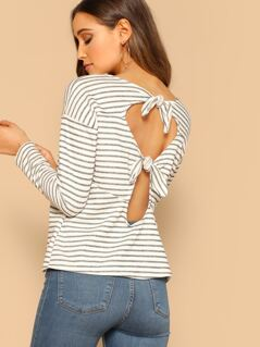 French Terry Stripe Back Cut Out And Tie Top