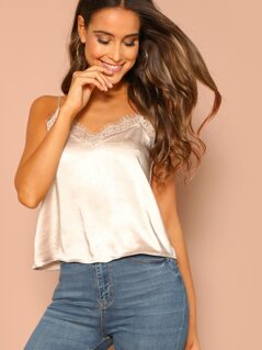 Lace Trimmed Satin Cami Top
