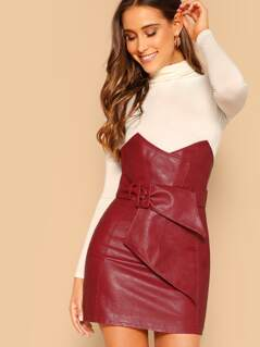 High Waist Vegan Leather Belted Point Detail Skirt