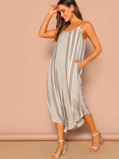 Cami Strap Stripe Wide Leg Crop Jumpsuit