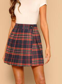 Pleated Plaid A-Line Side Slit Mini Skirt