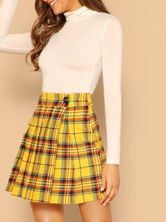 Pleated Plaid A-Line Side Slit Mini Skirt
