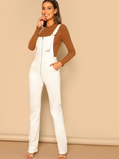 Zip Front Corduroy Straight Leg Overall Jumpsuit