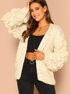Open Front Knit Textured Bishop Sleeve Cardigan