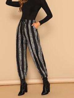 Elastic Waist Striped Brush Knit Cuffed Pants