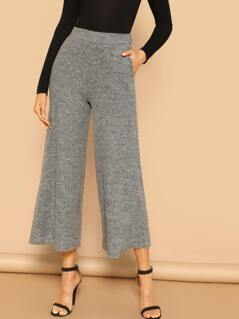 Elastic Waist Wide Leg Brush Knit Palazzo Pants
