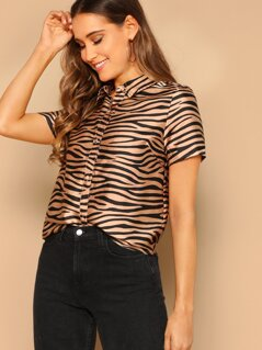 Button Front Zebra Print Short Sleeve Shirt