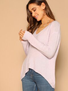 Dip Hem Back Cut Out Tie V-Neck Sweater