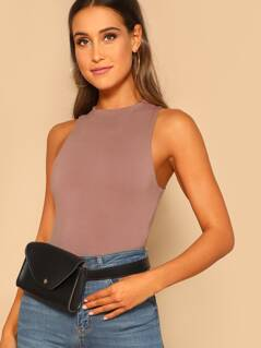 Double Layer Jersey Knit High Neck Tank