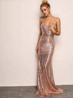 Joyfunear Open Back Sequin Cami Prom Dress