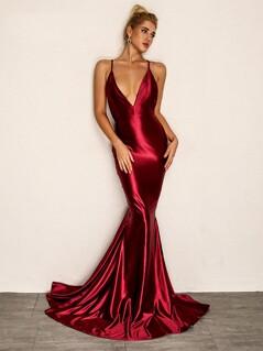 Joyfunear Backless Fishtail Satin Cami Prom Dress