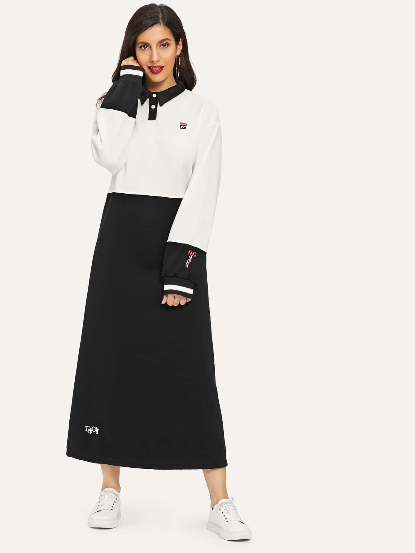 Купить Платье-свитшот с пуговицей и вышитым текстовым принтом, Jeane, SheIn