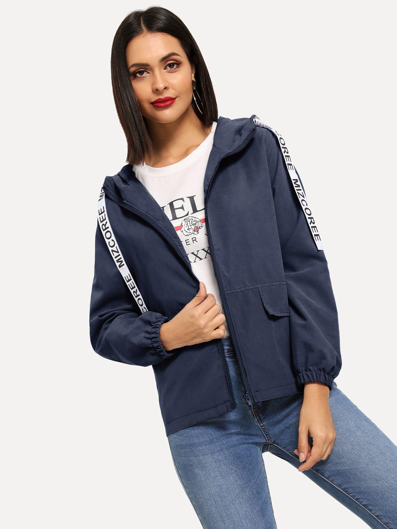 Пальто на молнии с капюшоном и текстовым принтом SheIn