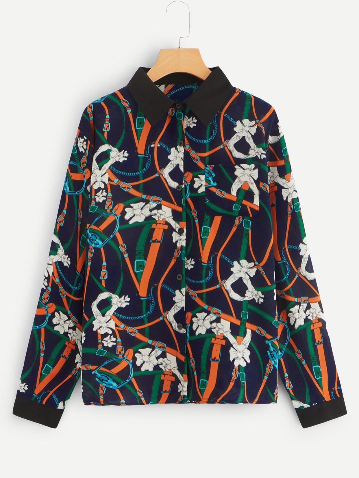 Купить Размера плюс однобортная блуза с графическим принтом, null, SheIn