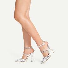 Snakeskin Print Point Toe Heels