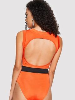 Cut-out Back Contrast Waist Bodysuit