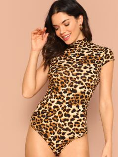 Mock-neck Leopard Print Bodysuit