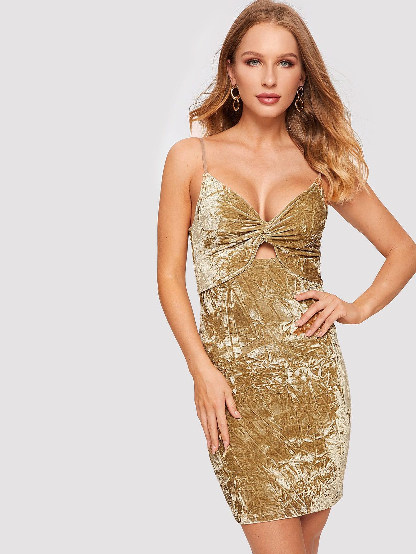 Купить Бархатное платье без рукавов с глубоким вырезом, Sasha O, SheIn